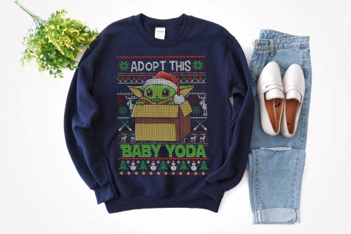 Baby Yoda Star Wars Ugly Christmas Sweater Star Wars The Mandalorian The Child Red Hue Portrait Hilarious Shirt Christmas Party