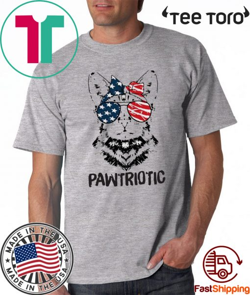 Cat American flag Pawtriotic 4th July independence day Tee Shirt