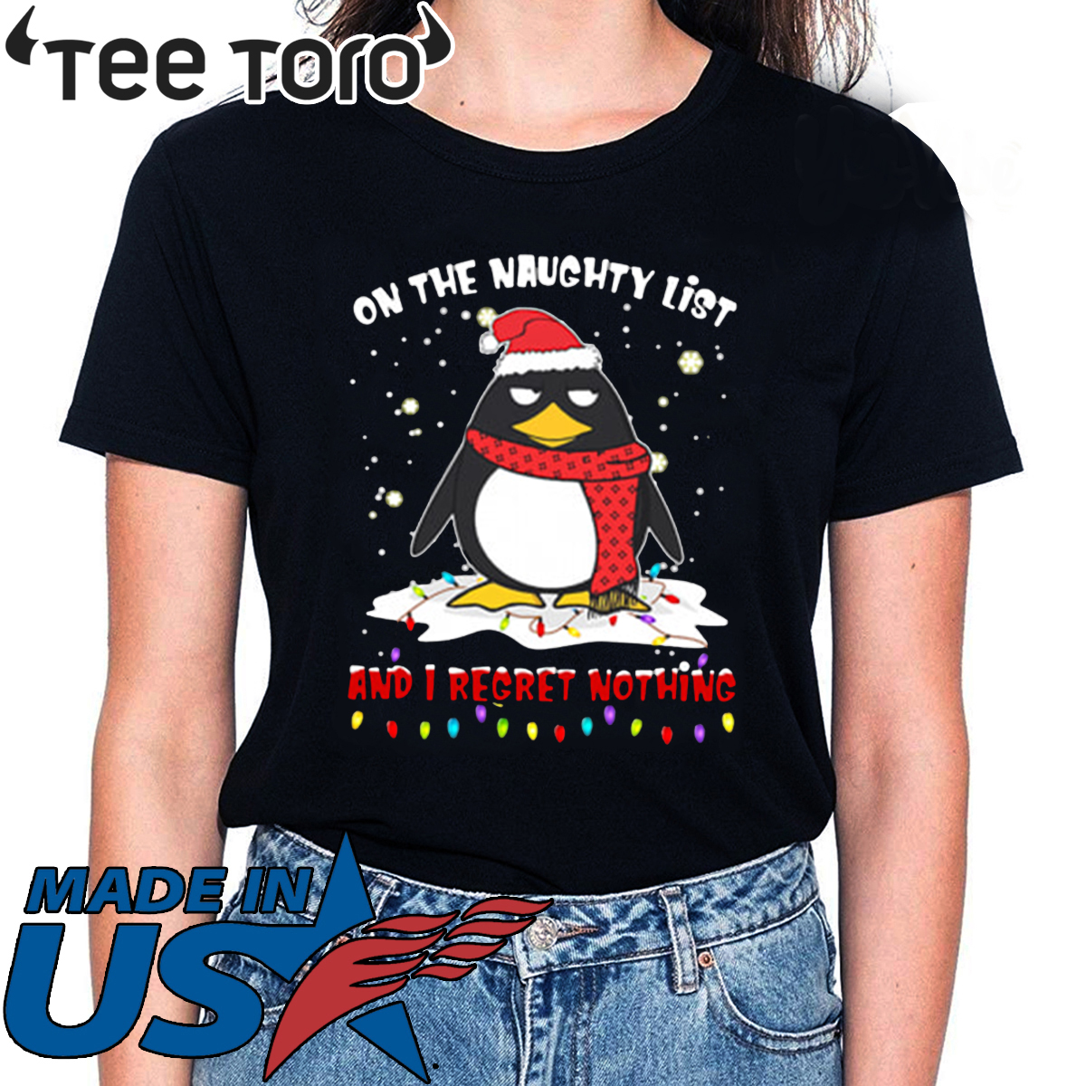 Penguin On The Naughty List And I Regret Nothing Tee Shirt