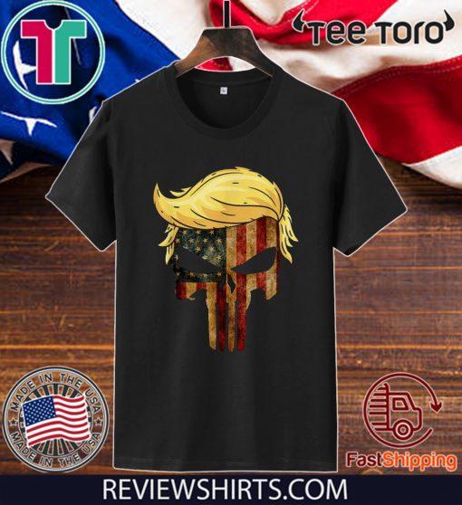 Skull With Iconic Trump Hair President Flag America Tee Shirt