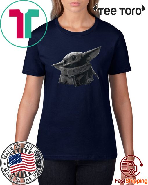 Star Wars The Mandalorian The Child Black & Grey Portrait Offcial T-Shirt