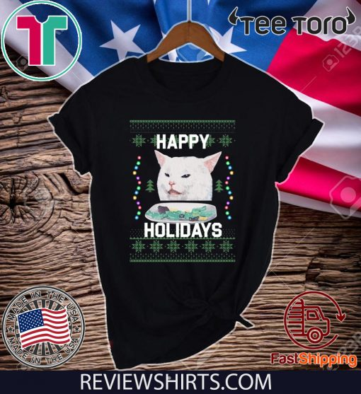 Happy Holidays Cat Woman Yelling At Cat Merry Xmas T-Shirt