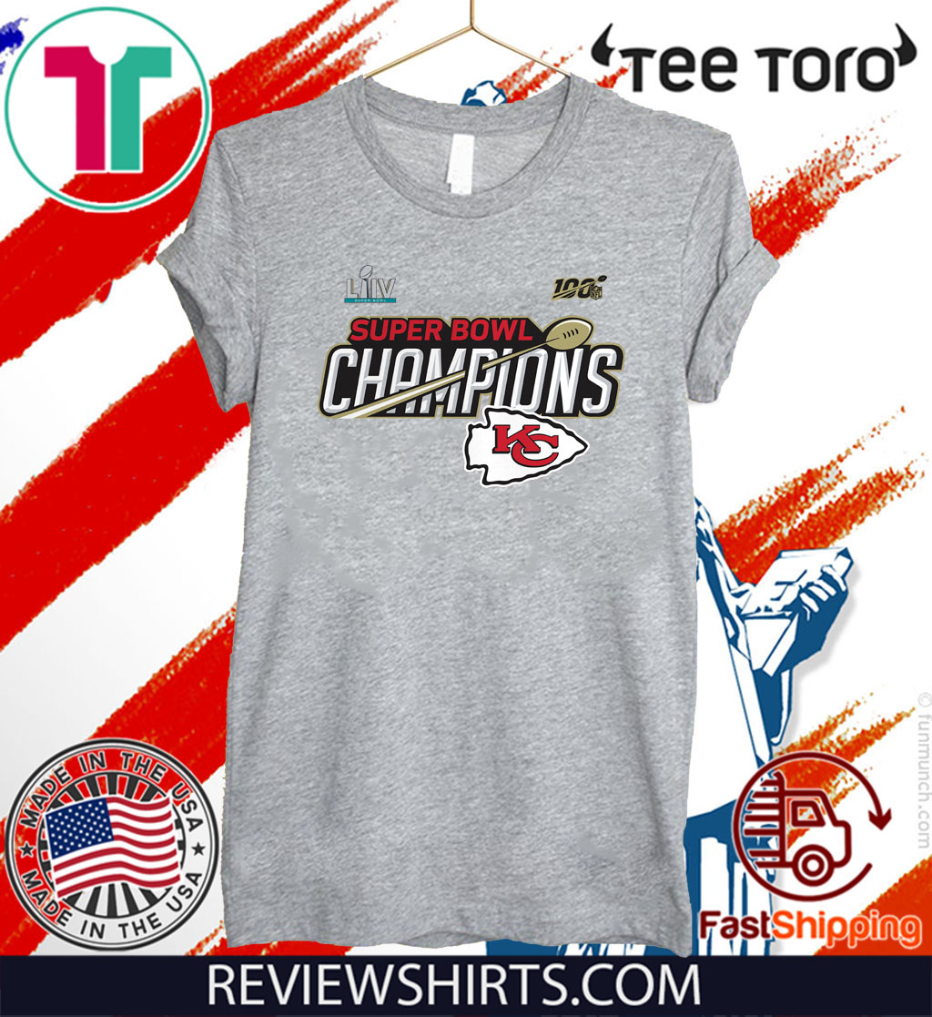 Limited Edition Kansas City Chiefs Super Bowl LIV Champions Trophy Tee Shirt