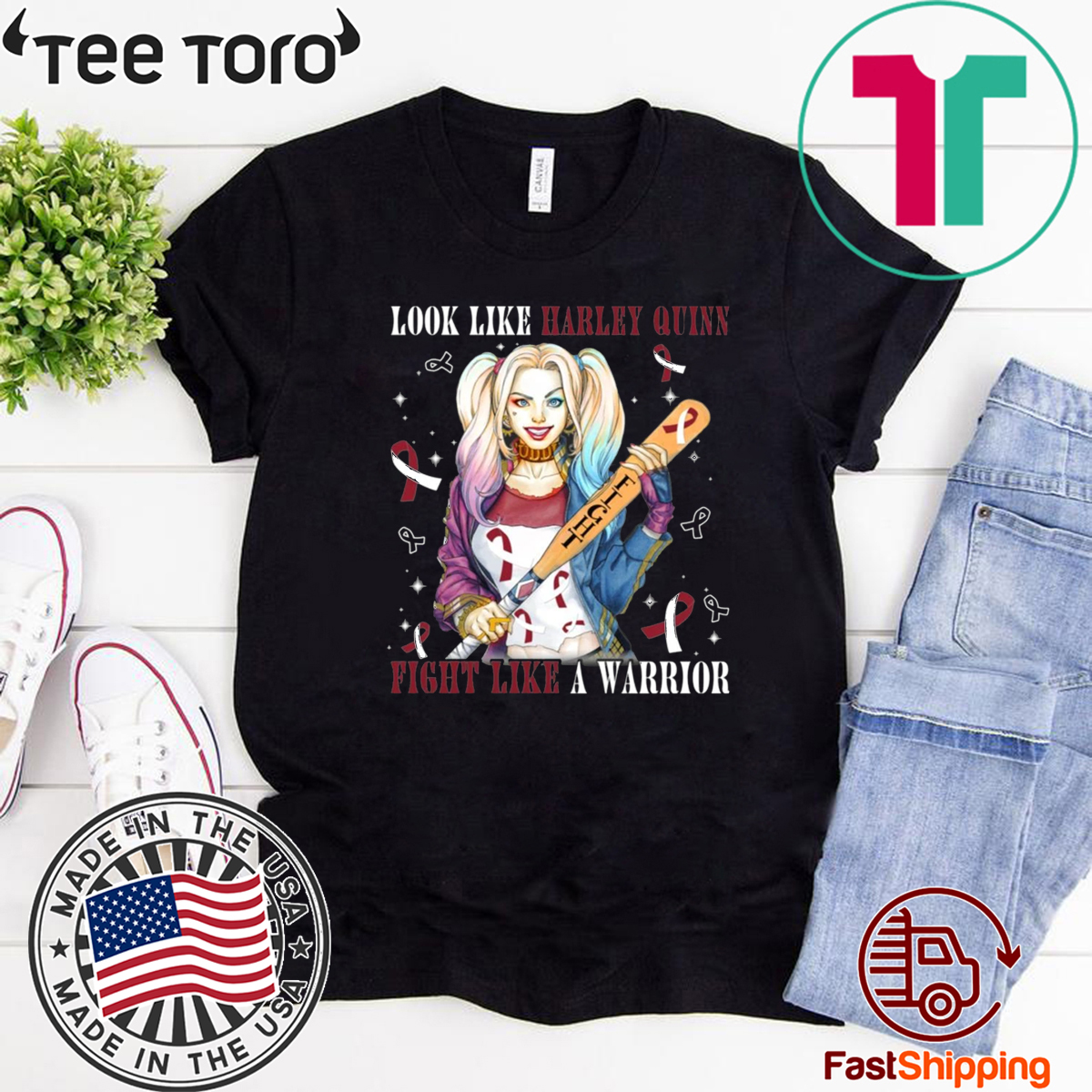 Look Like Harley Quinn Fight Like A Warrior Head And Neck Cancer Awareness For T-Shirt