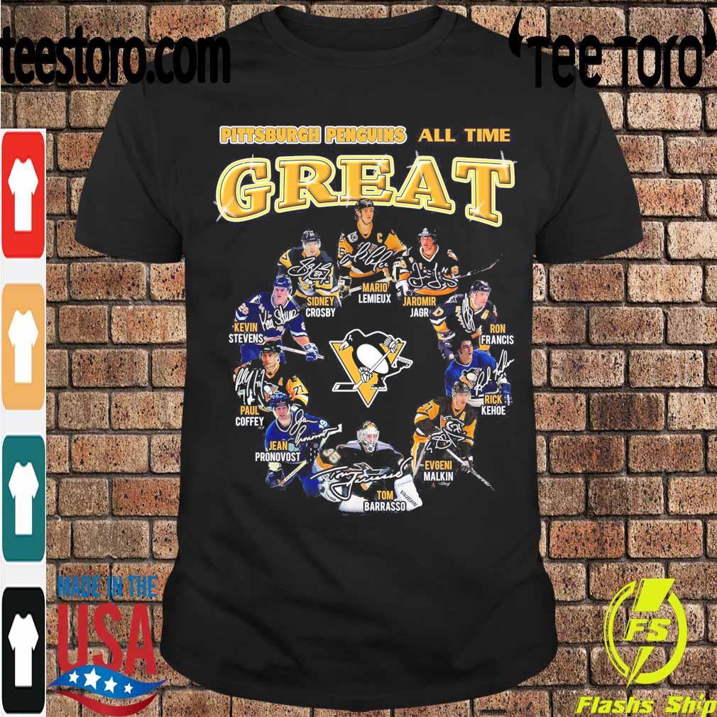 Pittsburgh Penguins all time Great Mario Lemieux Jaromir Jagr Ron Francis signatures shirt