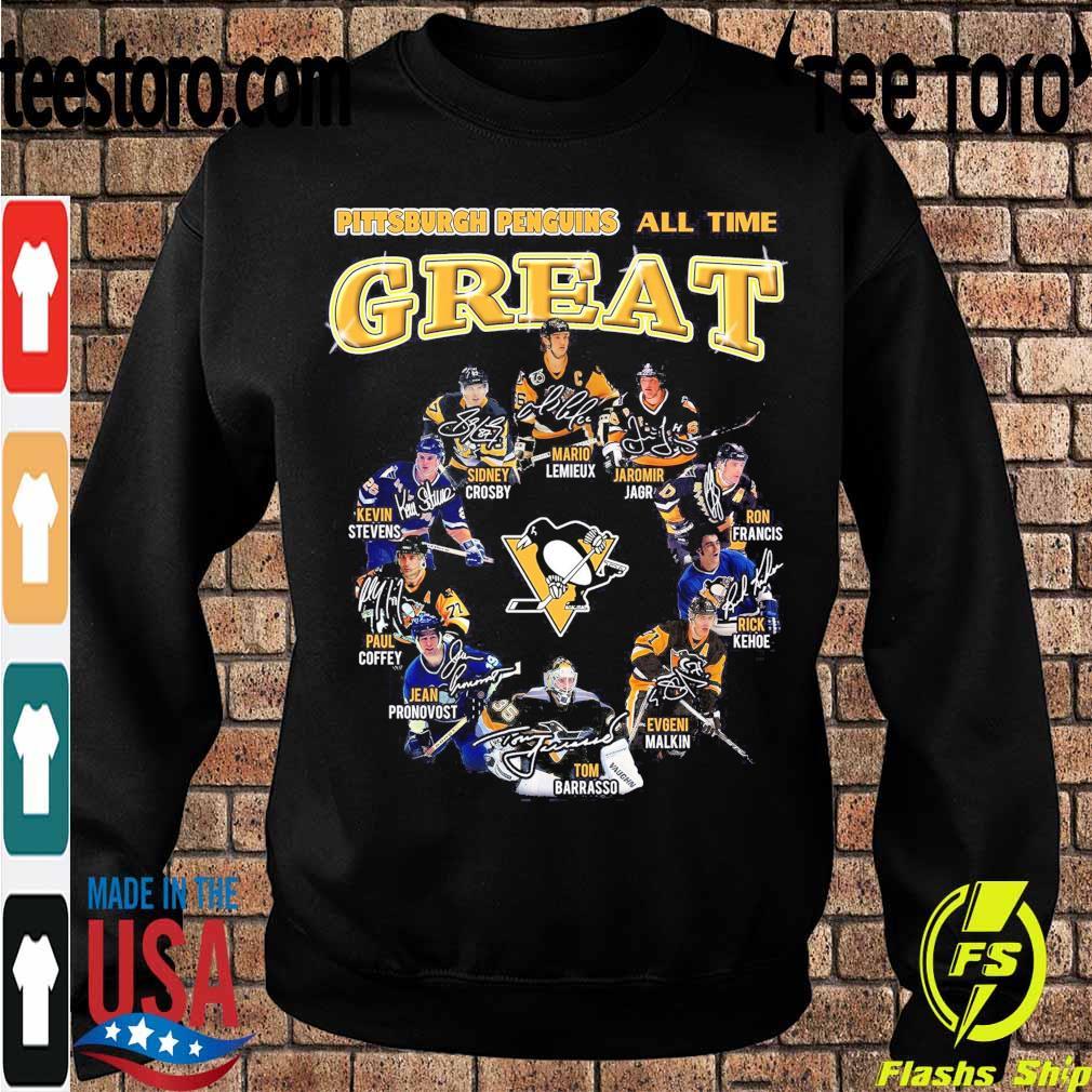 Pittsburgh Penguins all time Great Mario Lemieux Jaromir Jagr Ron Francis signatures s Sweatshirt