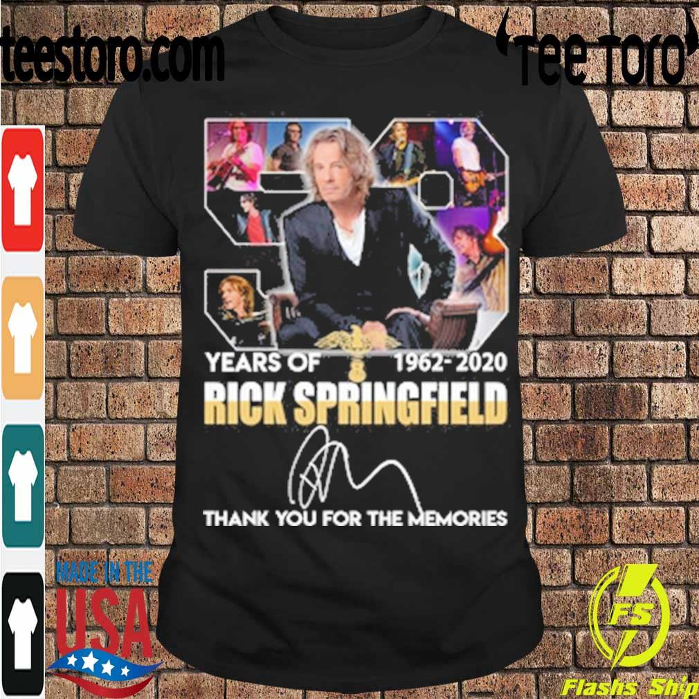 Rick Springfield 58 years of 1962 2020 thank you for the memories signature shirt