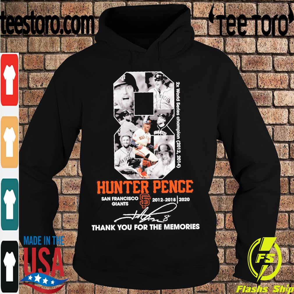 8 Hunter Pence San Francisco Giants 2012 2018 2020 signature s Hoodie